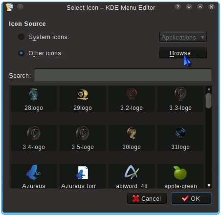 Linux Ultimate Edition KDE4 Menu New Item Select Icon