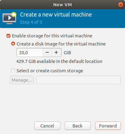 Virt-Manager Create New VM from ISO Visual Guide - Setting Disk Size
