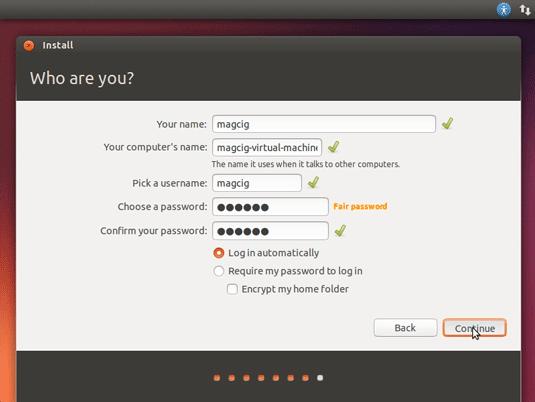 How to Install Ubuntu 16.04 VMware Virtual Machine on Windows 8 - User SetUp