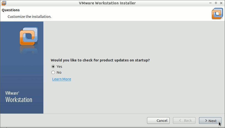 Install VMware Workstation 10 on Debian Jessie 8 - Check for Updates
