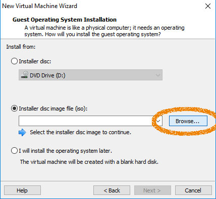 VMware Workstation 14 Create Virtual Machine from ISO - Loading