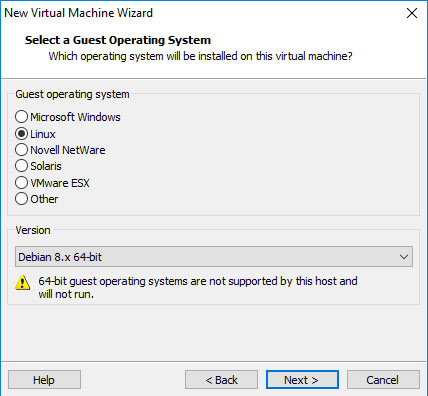 VMware Workstation 14 Create Virtual Machine from ISO - Guest OS Type