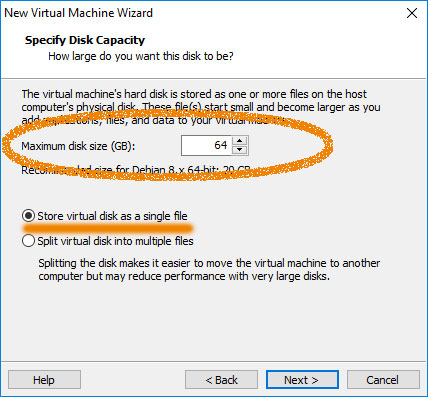 VMware Workstation 14 Create Virtual Machine from ISO - Customize Disk Size