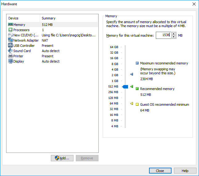 VMware Workstation 14 Create Virtual Machine from ISO - Set Memory Size