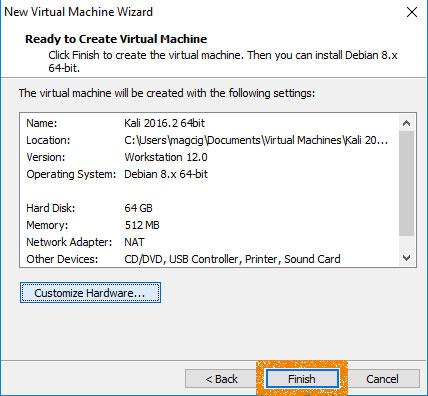VMware Workstation 12 Create Virtual Machine from ISO - Finishing