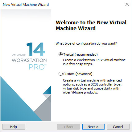VMware Workstation 14 Create Virtual Machine from ISO - VM Typical SetUp
