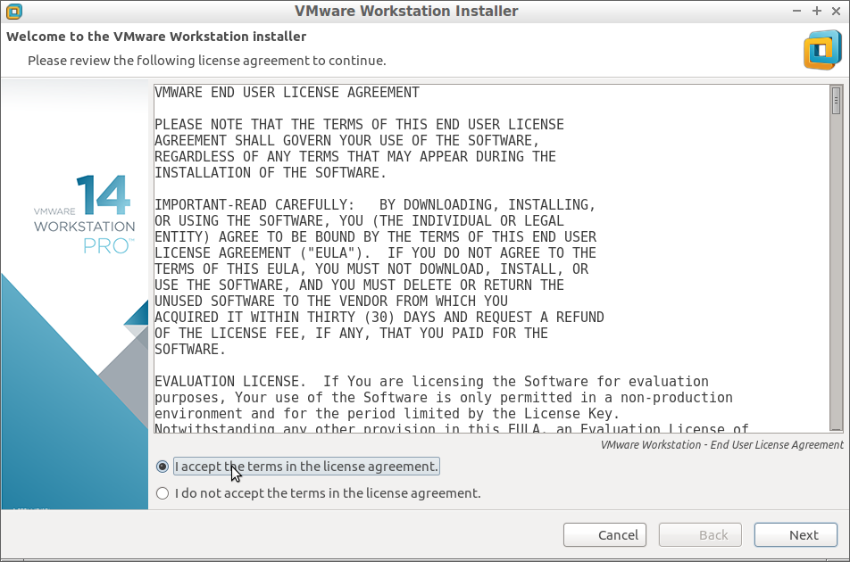 Fedora 26 Install VMware Workstation 14 Pro - Accept Licenses