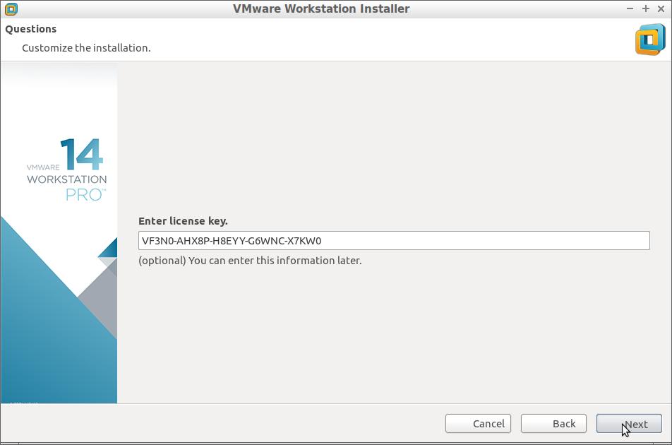 How to Install VMware Workstation 14 Pro on Debian - Insert License Key