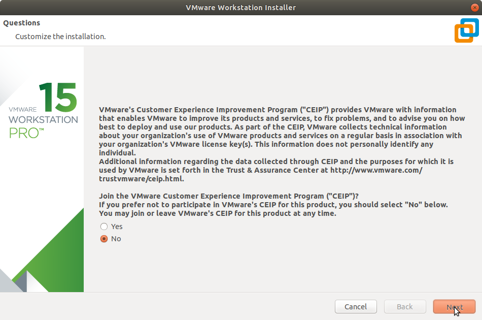 Manjaro Linux Install VMware Workstation 15 Pro - Customer Experience Improvement Program