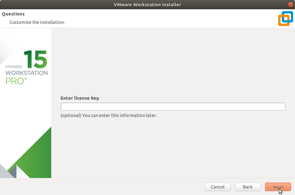 Manjaro Linux Install VMware Workstation 15 Pro - Insert License Key