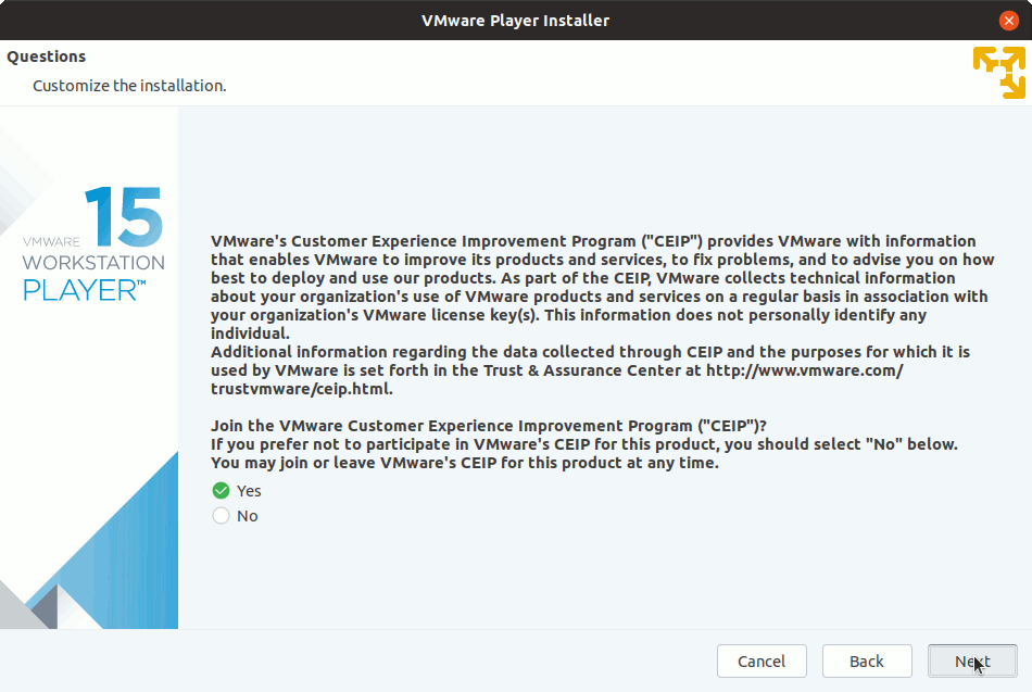 Archman Linux Install VMware Workstation 15 Player - Customer Experience Improvement Playergram