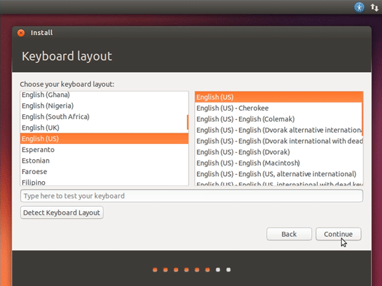 How to Install Ubuntu 18.04 Desktop on VMware Workstation VM - Select the Keyboard Layout