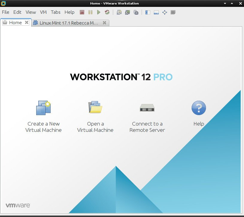 Linux Kubuntu VMware Workstation Pro 12 Installation - VMware Workstation Pro 12 GUI