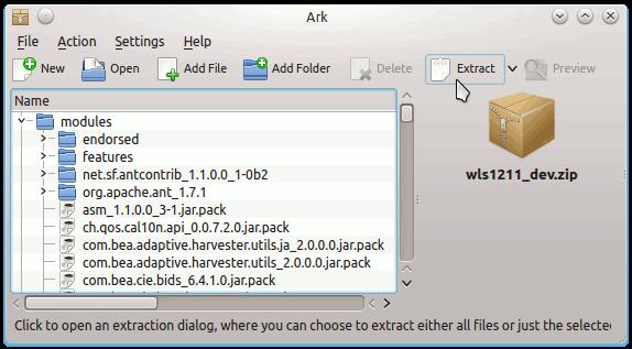 Linux Kde4 Desktop Oracle Bea WebLogic 12c 32-bit App Server Extraction