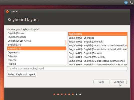 How to Install Ubuntu 18.04 Dual Boot Windows 10 - Select the Keyboard Layout
