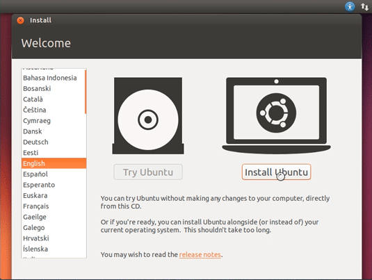 How to Install Ubuntu 18.04 Bionic Alongside Windows 10 - Start Installation Welcome