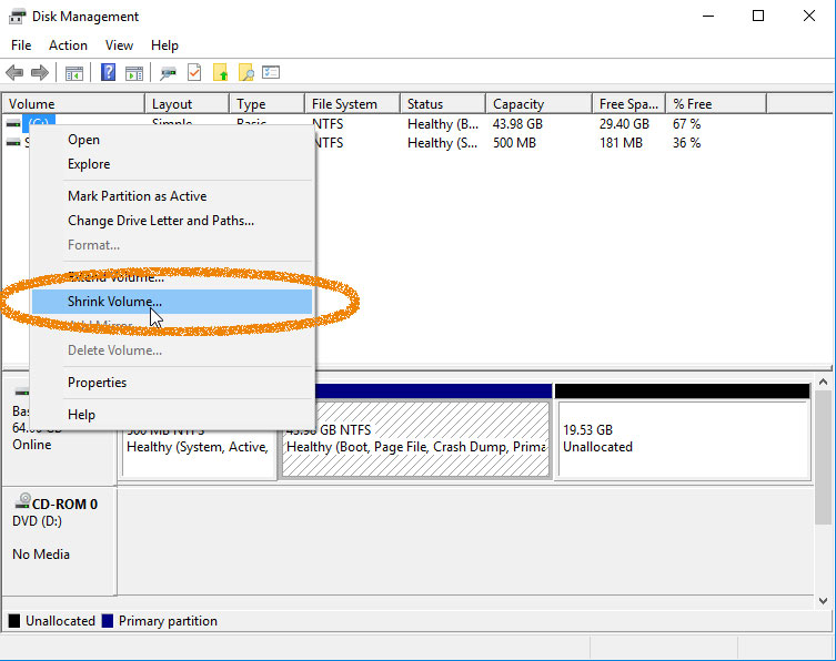 How to Easy Shrink / Resize a Windows 7 Ntfs Partition with Disk Tool - Shrinking