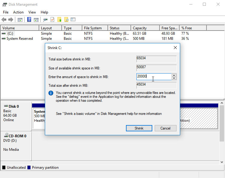 How to Easy Shrink / Resize a Windows 7 Ntfs Partition with Disk Tool - Resizing