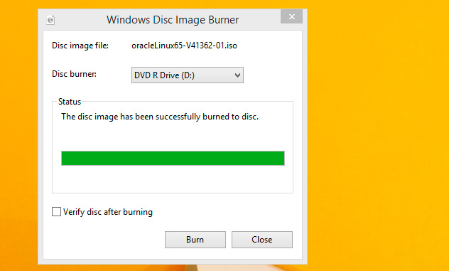 Windows 8 Burn Linux/Unix ISO to CD/DVD - Done