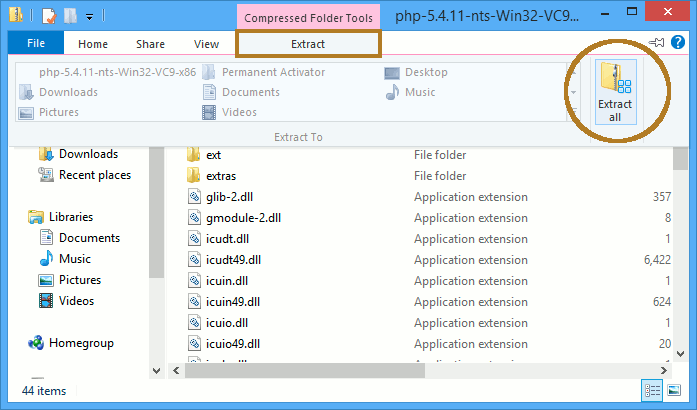 Install PHP 5.5.5 on Windows 8 with IIS8 Integration - Extracting PHP5 Archive 1