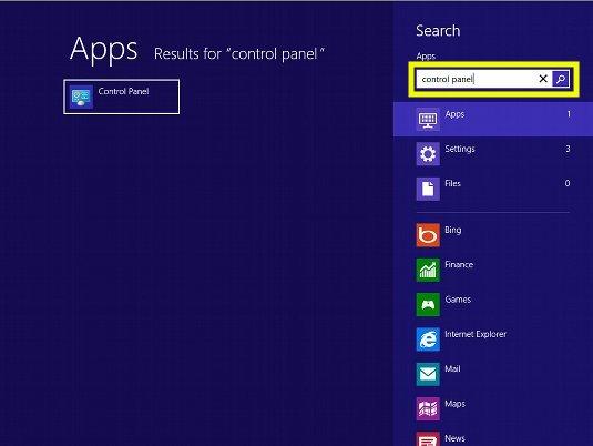 Win8 Control Panel