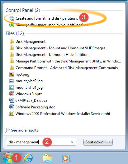 How to chkdsk a Windows 7 Volume with Disk Management Tool - Launching Disk Management Tool