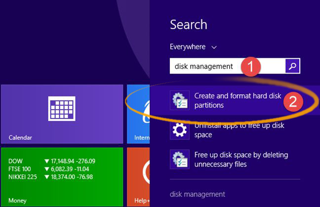 How to Easy Shrink / Resize a Windows 8 Ntfs Partition with Disk Tool - Windows 8 Launch Start Menu Search