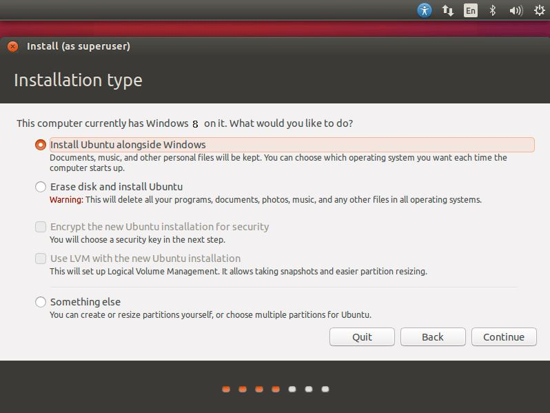 Install Ubuntu 16.04 Xenial on Top of Windows 8 - Select Install Ubuntu alongside Windows 8