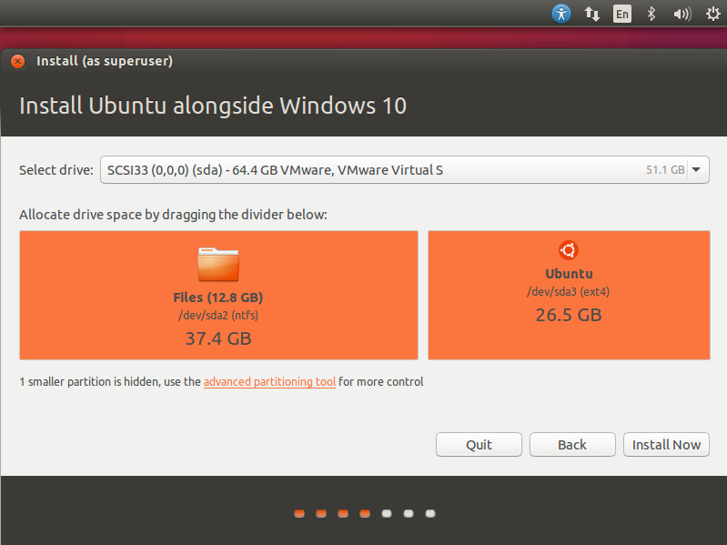 Install Ubuntu 16.04 Xenial on Top of Windows 10 - Allocating Drive Space