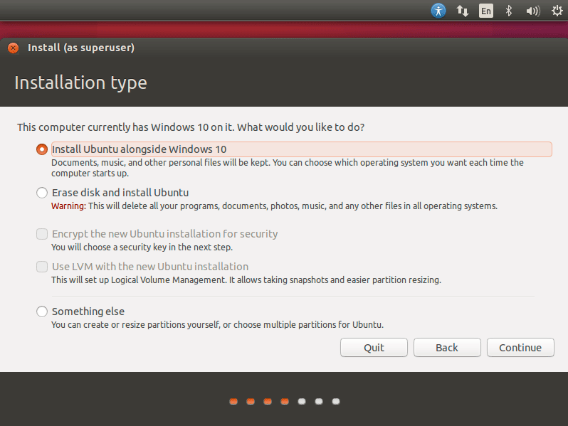 Install Ubuntu 16.04 Xenial on Top of Windows 10 - Select Install Ubuntu alongside Windows 10