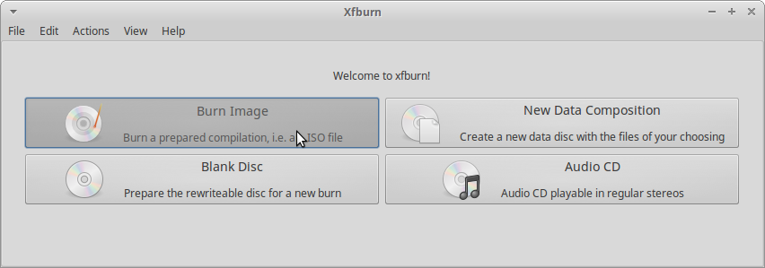 Mint Xfce Burning ISO to Disk - Xfburn burn image to disk