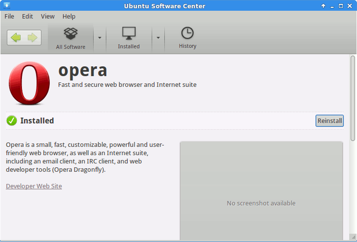 Xubuntu Software Center Installing the Opera Browser - Done